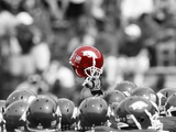 Arkansas Razorbacks Football Helmet Held High Photographic Print