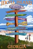 Jekyll Island, Georgia - Sign Destinations Plastic Sign by  Lantern Press