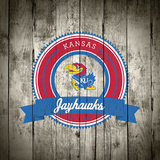 Kansas Jayhawks Logo on Wood Poster by  Lulu
