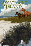 Assateague Island - Horses and Dunes Plastic Sign by  Lantern Press