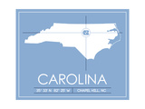 University of North Carolina State Map Prints by  Lulu