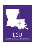 Louisiana State University State Map Plakater af Lulu