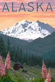 Alaska - Bear and Spring Flowers Plastic Sign by  Lantern Press