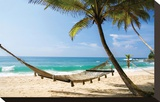 Beach Hammock & Tropic Sea Impressão em tela esticada