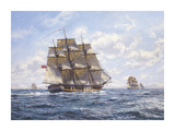 Before Trafalgar - R.N. Frigates Watch Off Cadiz Premium Giclee Print by Roy Cross