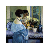 Girl in Blue Arranging Flowers, c1915 Premium Giclee Print by Frederick Carl Frieseke