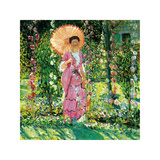 Hollyhocks, c.1912-1913 Premium Giclee Print by Frederick Carl Frieseke