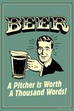 Beer Pitcher Worth A Thousand Words Funny Retro Poster Billeder af  Retrospoofs