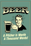 Beer Pitcher Worth A Thousand Words Funny Retro Poster Photo by  Retrospoofs
