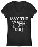 Juniors: Star Wars- Mixed Fonts Force Quote V-Neck Shirts