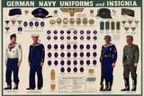 German Navy Uniforms and Insignia Chart WWII War Propaganda Art Print Poster Plakáty