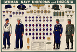 German Navy Uniforms and Insignia Chart WWII War Propaganda Art Print Poster Prints