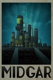 Midgar Retro Travel Poster Posters