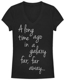 Juniors: Star Wars- A Long Time Ago Script V-Neck Shirts