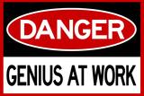 Danger Genius At Work Sign Posters