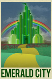 Emerald City Retro Travel Poster Plakater