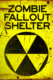 Zombie Fallout Shelter Sign Black Triangle Poster Print Prints