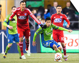 2014 MLS Playoffs: Nov 10, FC Dallas vs Seattle Sounders - Gonzalo Pineda, Blas Perez Prints by Joe Nicholson