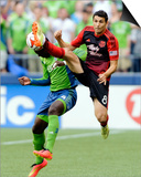 Jul 13, 2014 - MLS: Portland Timbers vs Seattle Sounders - Diego Valeri, Jalil Anibaba Poster by Steven Bisig