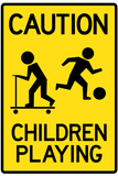 Caution Children Playing Sign Poster Poster