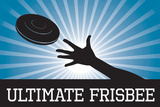 Ultimate Frisbee Blue Sports Poster Print Poster