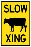 Slow Cow Crossing Sign Poster Poster