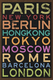 Cities of the World Colorful RetroMetro Travel Poster Print