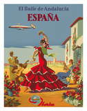 España (Spain)- Iberia Air Lines of Spain - Flamenco Dancers Giclée-Druck von Inc., Pacifica Island Art