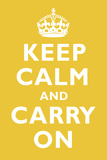 Keep Calm and Carry On Mustard Art Print Poster Photo