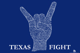 Texas Fight Song (Blue) Text Poster Posters