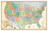 Rand Mcnally Laminated Classic United States Map Prints