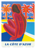 La Côte d'Azur - South of France - French Riviera Print by Bernard Villemot