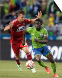 2014 MLS Playoffs: Nov 10, FC Dallas vs Seattle Sounders - Michel, Obafemi Martins Posters by Joe Nicholson