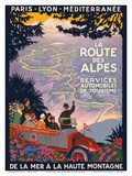 The Alpine Route - Services Automobiles de Tourisme (Automobiles Tourism Services) Posters by Inc., Pacifica Island Art