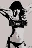 Steez Bikini Boombox - BW Posters