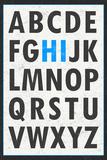 Hi Alphabet Blue Art Print Poster Prints