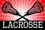 Lacrosse Red Sports Poster Print Print