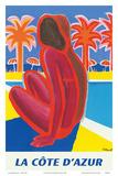 La Côte d'Azur - South of France - French Riviera Posters tekijänä Bernard Villemot