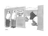 "Two construction workers stand near a ""Hard Hat Area"" where a piano and a ... - New Yorker Cartoon Premium Giclee Print by Charlie Hankin"
