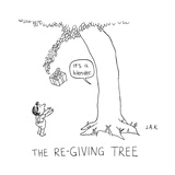 """The Re-Giving Tree: a tree offers a child a wrapped gift, and says """"It's a... - New Yorker Cartoon Premium Giclee Print by Jason Adam Katzenstein"""