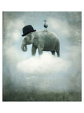 Elephant on Cloud with Hat Prints