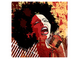 Jazz Singer Grunge Background Prints