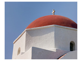 Greece Mykonos Red-Dome Church Giclee-tryk i høj kvalitet