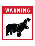 Hippo Warning Sign Posters