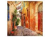 Old Pictorial Greek Streets Giclee-tryk i høj kvalitet