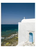 Coastal Church Mykonos Greece Giclee-tryk i høj kvalitet