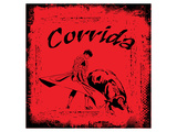 Corrida - Red Bullfight Sign Plakater