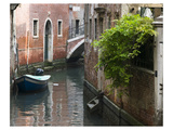 Italy Boat in Canal By House Print