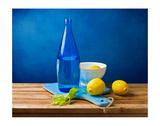 Lemons and Bottle Still Life - Tablo