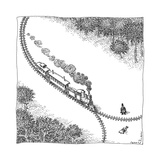 A train heads toward a tied up victim traveling along a track that comes t... - New Yorker Cartoon Premium Giclee Print by John O'brien